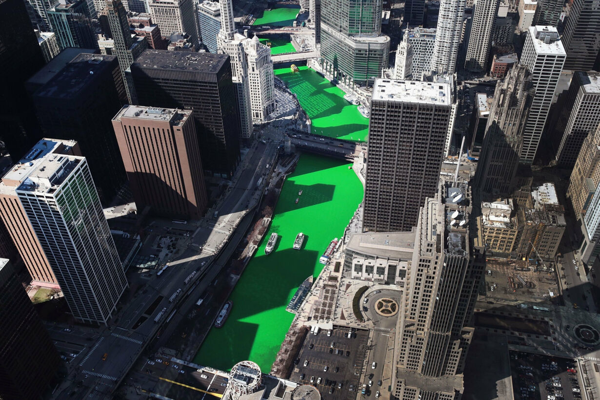 Chicago River Is Colored Green