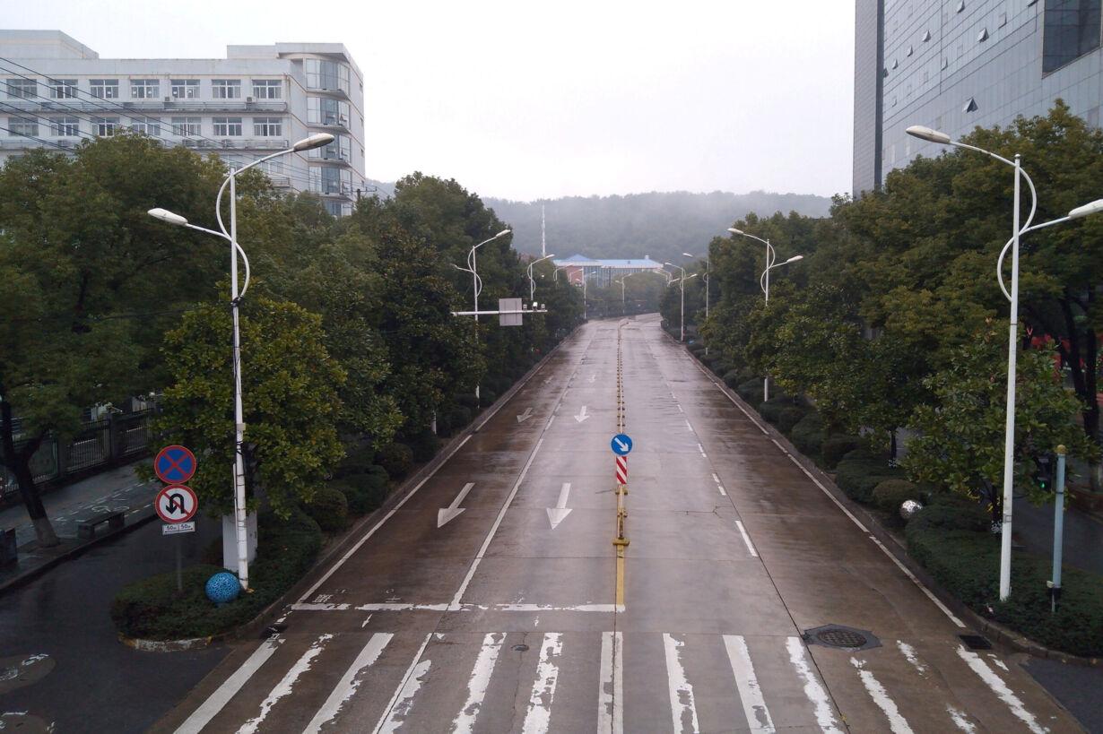 An empty street is seen in Wuh