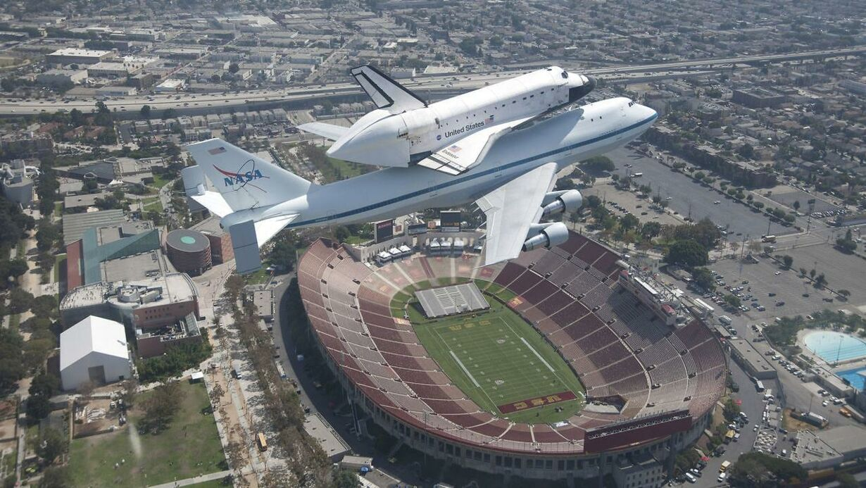 The space shuttle Endeavour atop its 747 shuttle carrier aircraf