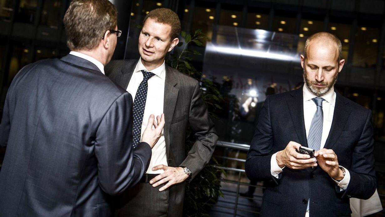 Afskedsreception i Nordea for Christian Clausen. Her ses tidligere Nordea-direktør Anders Jensen.