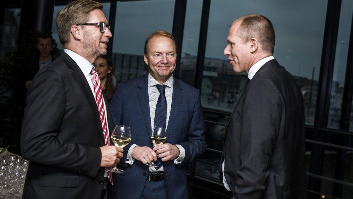 Afskedsreception i Nordea for Christian Clausen. Her ses Jeff Gravenhorst topchef i ISS, Lars Frederiksen tidligere topchef i Chr. Hansen og Jens Bjørn Andersen topchef i DSV.