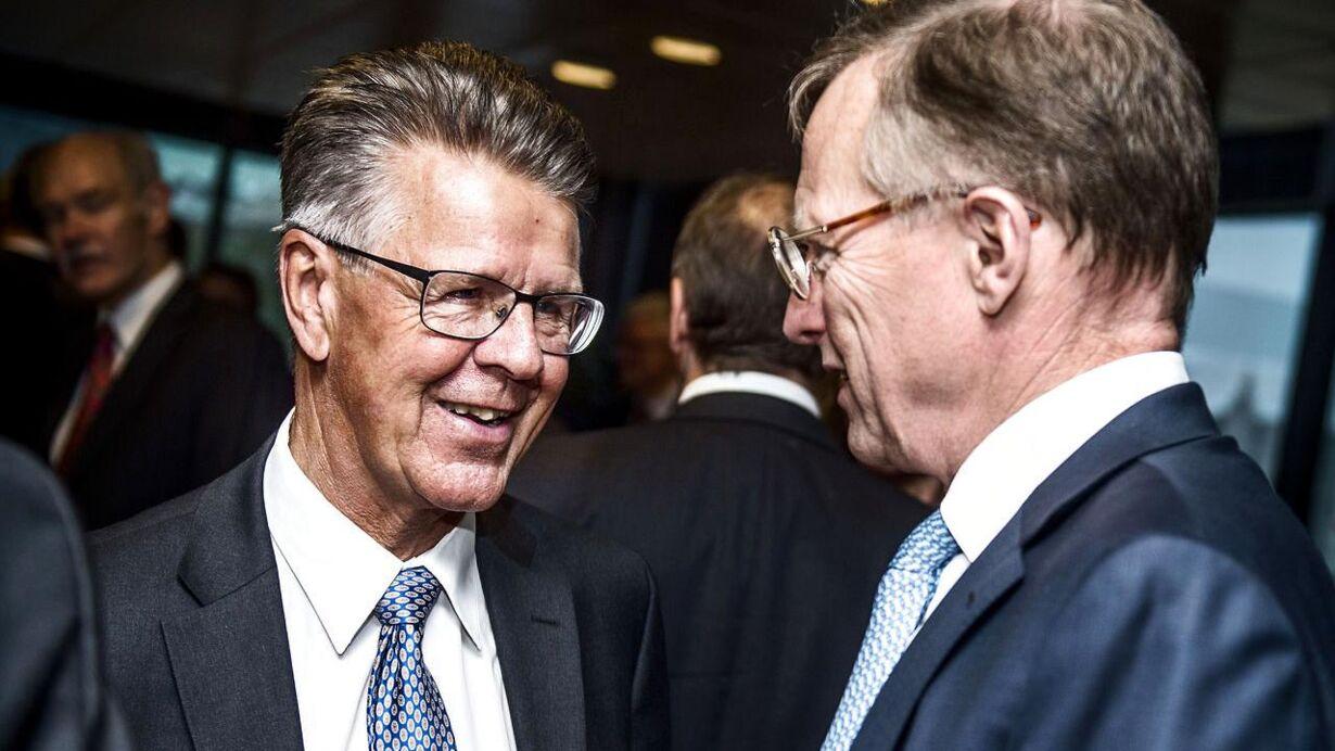 Afskedsreception i Nordea for Christian Clausen. Her ses finansmanden Ib Kunøe og Mærsk-topchef Nils Smedegaard Andersen.