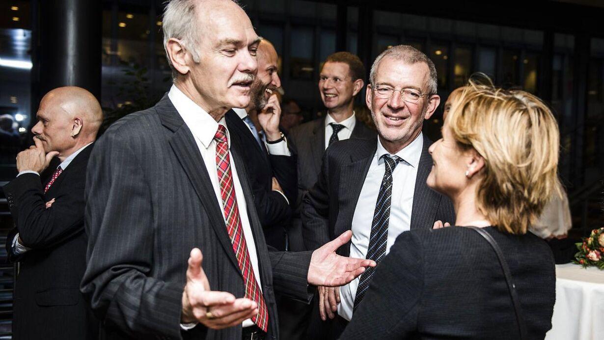 Afskedsreception i Nordea for Christian Clausen. Her ses Jørgen Huno Rasmussen og Peter Schütze.