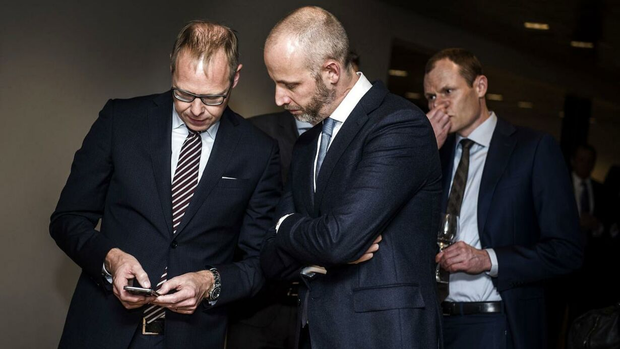 Afskedsreception i Nordea for Christian Clausen. Her ses Nykredit-topchef Michael Rasmussen.