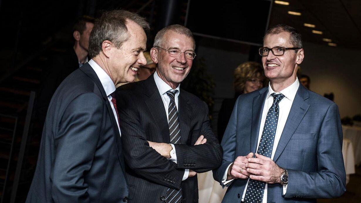 Afskedsreception i Nordea for Christian Clausen. Her ses tidligere Nordea-direktør Peter Schütze og tidligere Vestas-topchef Ditlev Engel.