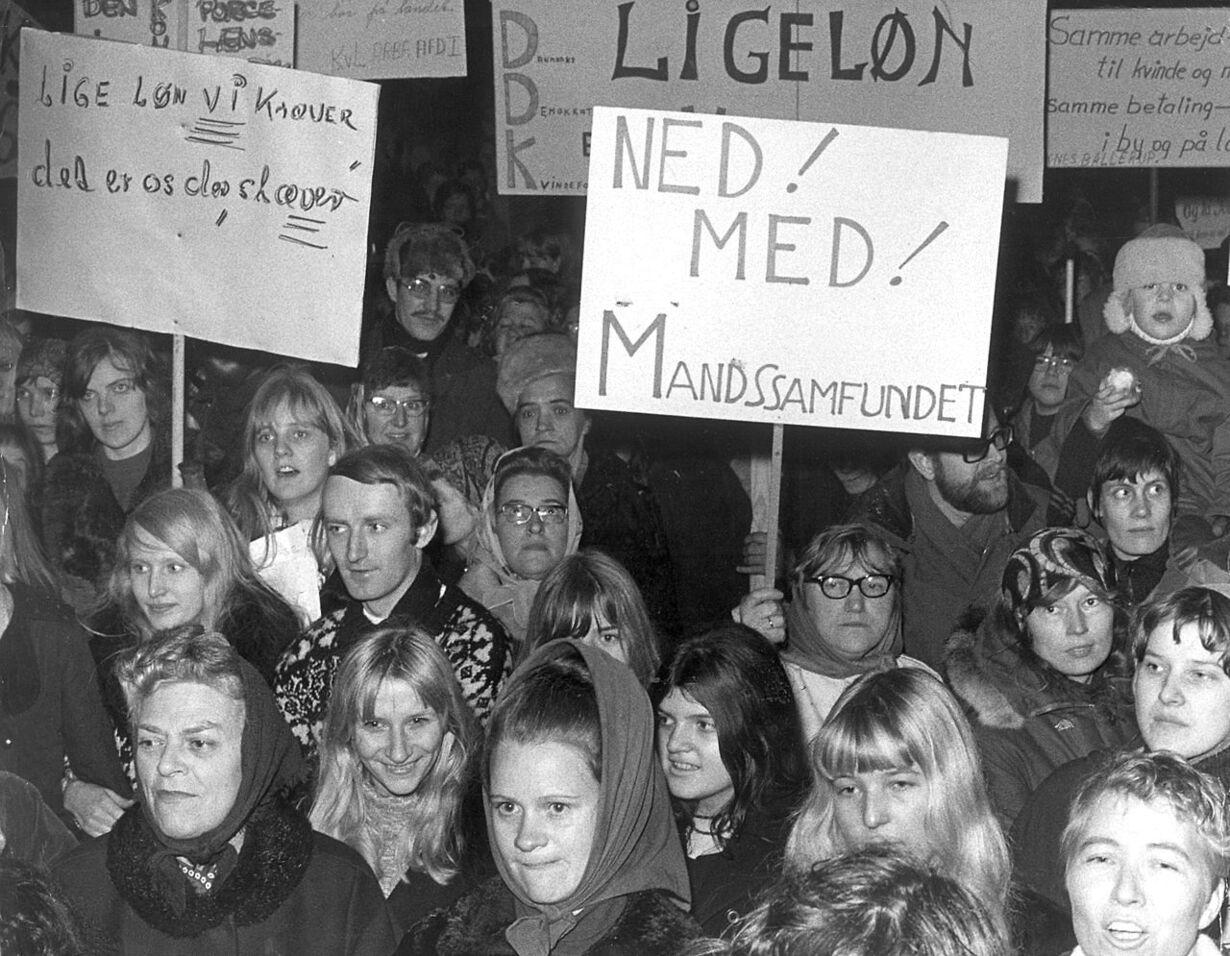 Ligelønsdemonstration i 1971.