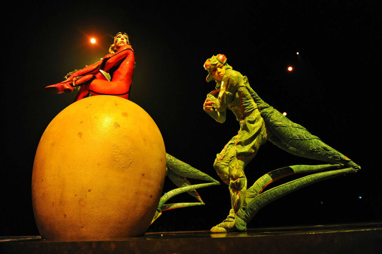 Acrobats with the world famous troupe Cirque du Soleil, wearing