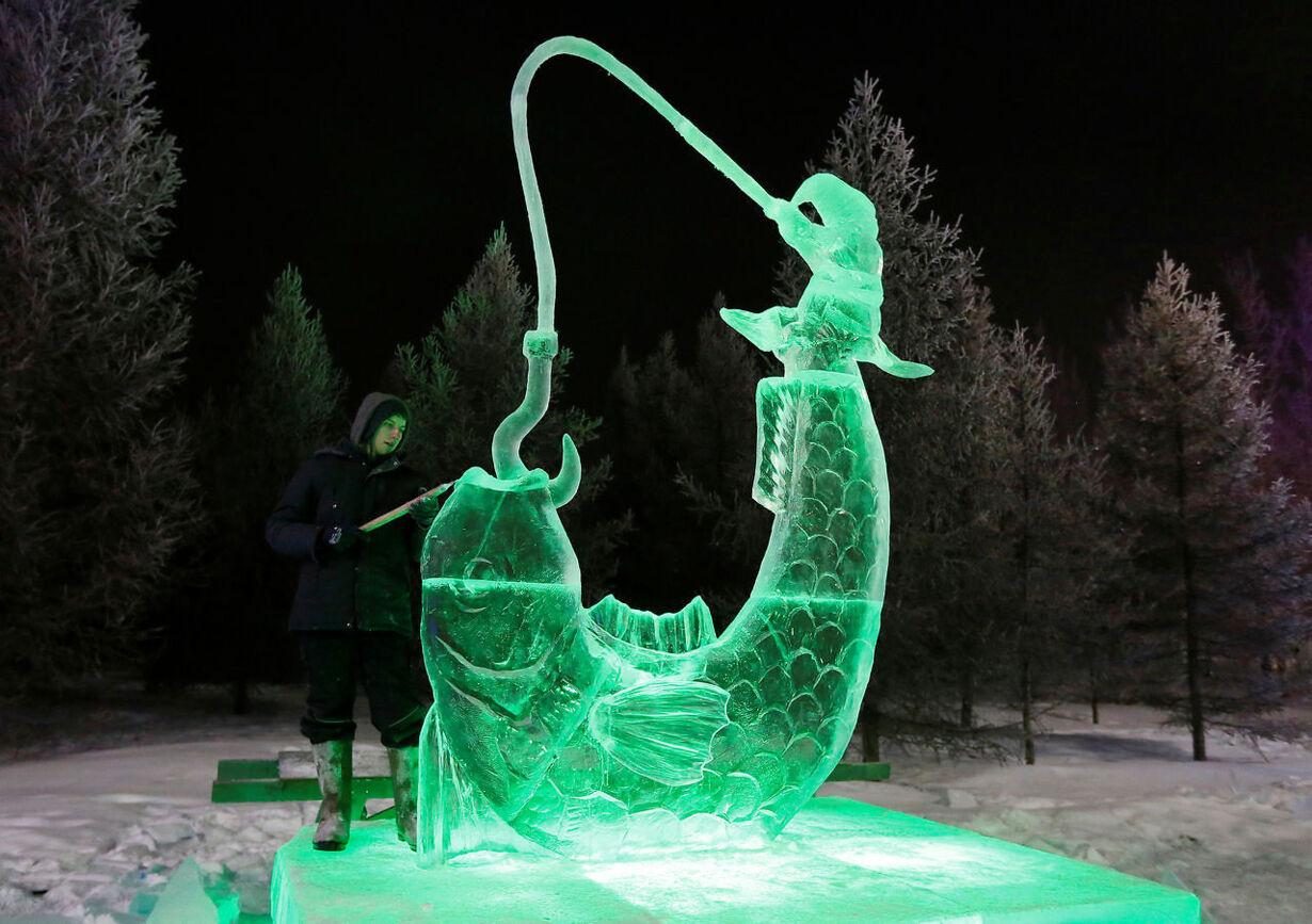 Imponerende isskulpturer i Rusland