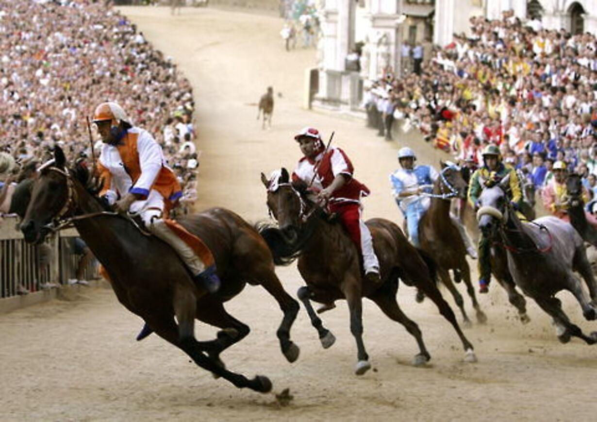 Historisk hestevædeløb på torvet i Siena - 1