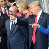 Donald Trump og 28 andre stats- og regeringschefer var samlet til NATOs topmøde i Bruxelles 11. Juli 2018.
