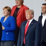Fælles holdopstilling på topmøde i NATOs hovedkvarter i Bruxelles, den 11 juli, 2018. / AFP PHOTO / GEOFFROY VAN DER HASSELT