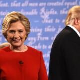 TV-dysten natten til tirsdag var den første af tre mellem præsidentkandidaterne Hillary Clinton og Donald Trump. Scanpix/Timothy A. Clary