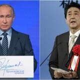 Den russiske præsident Vladimir Putin og Japans premierminister Shinzo Abe