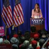 Melania Trump, hustru til den republikanske præsidentkandidat, Donald Trump, talte torsdag i Berwyn, Pennsylvania. Scanpix/Alex Wong