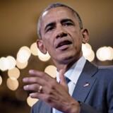 Ser ud om Obama, lyder som Obama, men er det, Obama siger, virkelig blevet udtalt af Obama, eller er der tale om deepfake – altså falske videoer? Det bliver en situation, vi kan risikere at skulle forholde os til fremover. Arkivfoto: AFP/Scanpix