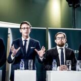 Kristian Jensen, Karsten Lauritzen, Simon Emil Ammitzbøll og Brian Mikkelsen præsenterer regeringens skatteudspil, Jobreformens fase II, i Rentekammeret i Finansministeriet tirsdag den 29. august.