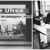 Beate Uhse (til højre ved sit skrivebord) åbnede den første sexbutik i verden i 1962. Det udviklede sig til et helt imperium, som siden blev ramt af Internettet og den lette tilgang til pornofilm. Arkivfotos: Beate Uhse AG