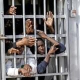 Migranter bliver efter et mislykket forsøg på at komme til Europa tilbageholdt lidt uden for Libyens hovedstad, Tripoli. Står det til EU skal Libyen klædes bedre på til at standse migranter og flygtninge, inden de stikker til havs, men landet er ikke et sikkert, advarer FN og Læger uden Grænser. Også den tyske udenrigsminister har fået kolde fødder. Foto: Hani Amara/Reuters