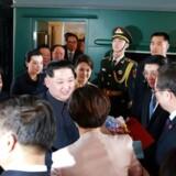Kim Jong-uns pansrede tog rullede ind i den kinesiske hovedstad, Beijing. Foto: KNCA