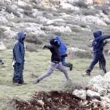 Israelske bosættere kaster sten mod politiet under rømningen af bosættelsen Amona den 1. februar 2017.