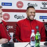 Nicolai Jørgensen, Mathias ''Zanka'' Jørgensen og Åge Hareide under et pressemøde med fodboldlandsholdet på Brøndby Stadion onsdag den 21 marts 2018.