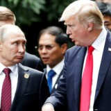 FILE PHOTO: Ruslands præsident, Vlaidimir Putin, og USAs præsident Donald Trump under G-20 møde i Hamburg den 7. juli REUTERS/Carlos Barria//File Photo