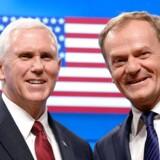USAs vicepræsident, Mike Pence, besøger EUs rådsformand, Donald Tusk, i Bruxelles og giver en uforbeholden støtte til EU på vegne af præsident Trump. / AFP PHOTO / THIERRY CHARLIER