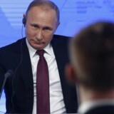 Præsident Vladimir Putin ved sin årlige pressekonference. Foto: Scanpix