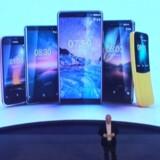 Fem nye Nokia-telefoner i alle afskygninger skal konkurrere om hylderne og folks lommer (og penge) i den kommende tid. Her præsenteres de af HMD Globals topchef, Florian Seiche, tidligere europæisk salgsdirektør for Microsoft Mobile. Foto fra HMDs præsentation
