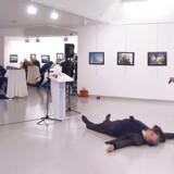 Billedet er taget umiddelbart efter skudattentatet. AP-fotografen Burhan Ozbilici stod på den modsatte side af hændelserne, da han fotograferede Mevlüt Mert Altintas umiddelbart efter nedskydningen af ambassadøren Andrej Karlov.