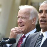 US President Barack Obama (R) together with Vice President Joe Biden (L) adresses, for the first time publicly, the shock election of Donald Trump as his successor, on November 9, 2016 at the White House in Washnigton, D.C. Throughout the two-year-long election campaign, Obama has repeated a mantra that he will do all he can to ensure the peaceful transition of power. / AFP PHOTO / Nicholas Kamm