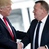 Arkivfoto fra 30. marts 2017, da statsminister Lars Løkke Rasmussen (V) mødte præsident Donald Trump i Det Hvide Hus i USA. AFP PHOTO / Brendan Smialowski