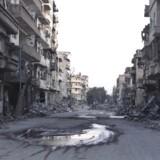 Arkivfoto af ødelæggelser i byen Deir al-Zor i Syrien, der angiveligt skulle være ramt af bomber.