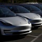 Teslas biler bliver nu en hel del dyrere i Kina som følge af USAs handelskrig. Her ses en række Model 3-biler. Arkivfoto: Stephen Lam, Reuters/Scanpix
