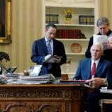 Arkivfoto: USA's præsident, Donald Trump, har mandag talt i telefon med den britiske premierminister, Theresa May, og den tyske kansler, Angela Merkel.