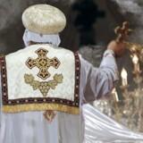 Den koptiske pave Tawadros II, afholder begravelsesmesse for de dræbte koptiske kristne i Libyen 17 Februar, 2015.