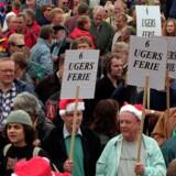 Senest Danmark blev kastet ud i en storkonflikt var i 1998, der bl.a. resulterede i en pludselig hamstring af gær. Her en demonstration på Rådhuspladsen i København. Arkivfoto: Liselotte Sabroe