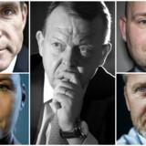 Partilederne Kristian Thulesen Dahl (DF), Mette Frederiksen (S), Lars Løkke Rasmussen (V), Søren Pape Poulsen (K) og Anders Samuelsen (LA) har alle meget på spil i det kommende år.