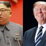 Trump skal mødes med den nordkoreanske leder, Kim Jong-un, i maj, efter at spændingerne mellem de to lande er eskaleret det seneste års tid. Foto: AFP PHOTO / KCNA via KNS AND AFP PHOTO / STR / South Korea OUT / REPUBLIC OF KOREA OUT