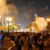 Demonstranter er på gade i Portland, Oregon 10. november, hvor de protesterer mod valget af Donald Trump som USAs næste præsident.