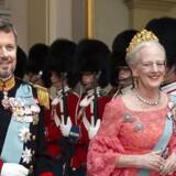 Dronning Margrethe og Kronprins Frederik Gallataffelet på Christiansborg Slot, lørdag den 26. maj 2018.