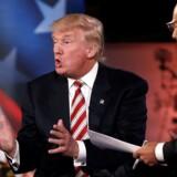Den republikanske præsidentkandidat Donald Trump taler her ved det såkaldte Commander in Chief Forum i New York onsdag aften, hvor publikum bestod af krigsveteraner.