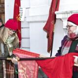De røde faner er fremme. Forhandlinger i Forligsinstitutionen for de statsansatte, onsdag den 28. marts 2018. . (Foto: Jens Nørgaard Larsen/Ritzau Scanpix)