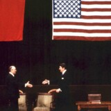 Den tidligere sovjetleder Mikhail Gorbatjov sammen med Ronald Reagan