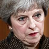Storbritaniens statsminister, Theresa May, til pressekonferencen på 10 Downing Street den 14. april 2018.