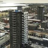 Amagers Manhattan. Nybyggede »højhuse« på Amager Strandvej. Arkivfoto.