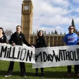 En aktion til støtte for EU-immigranter i Storbritannien fandt mandag sted udenfor parlamentet i London. Indenfor i Overhuset er EU-borgeres fremtidige status et centralt punkt for at fraviste premierminister Theresa May noget af kontrollen med Brexit-forhandlingerne. Foto: EPA
