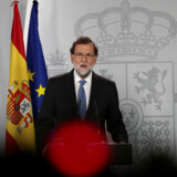 Spain's Prime Minister Mariano Rajoy delivers a statement after an extraordinary cabinet meeting at the Moncloa Palace in Madrid, Spain, October 27, 2017. REUTERS/Susana Vera