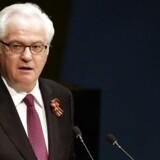 Den russiske FN-amadassadør Vitalij Tjurkin er »pludseligt« død. Han ville være født 65 i morgen. EPA/JASON SZENES