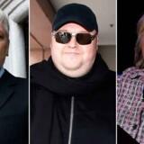 Fra venstre: Jullian Assange, Kim Dotcom og Hillary Clinton.